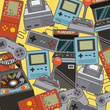 Klasyczne gry wideo i ikony rozrywki konsoli ilustracji wektorowych
