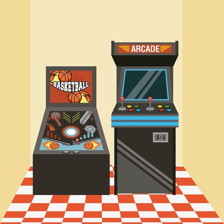Classic arcade video game machines, vector illustration Reklamní fotografie - 95158639
