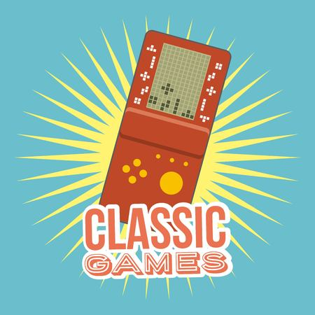 classic video game console portable gadget vector illustration