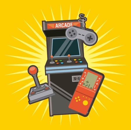 Classic videogames and console entertainment icons vector illustration Illusztráció