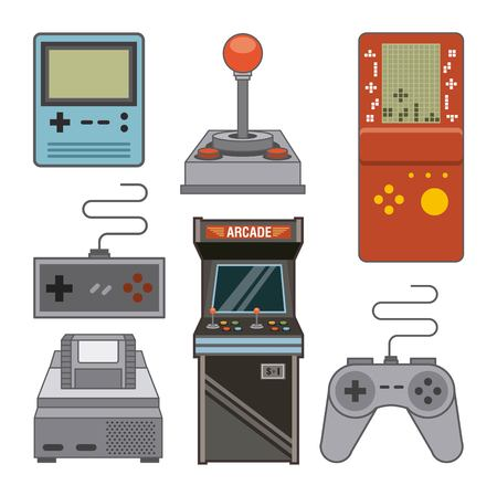 Classic videogames and console entertainment icons vector illustration Vectores