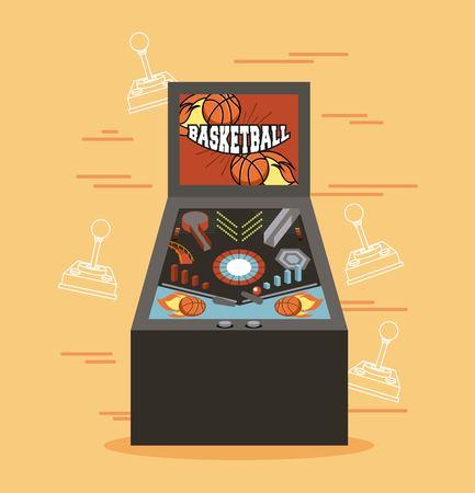 Classic arcade game machine rendering vector illustration Çizim