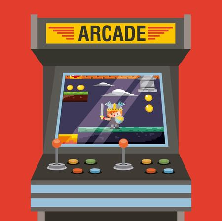 arcade video game machine with level knight medieval on screen vector illustration
