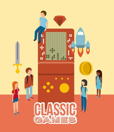 group people console video game portable isometric view vector illustration