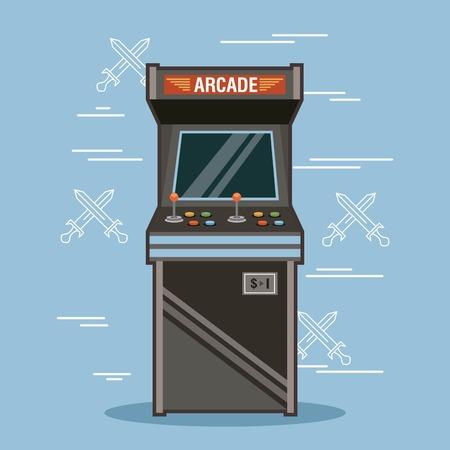 Classic arcade game machine rendering vector illustration 일러스트
