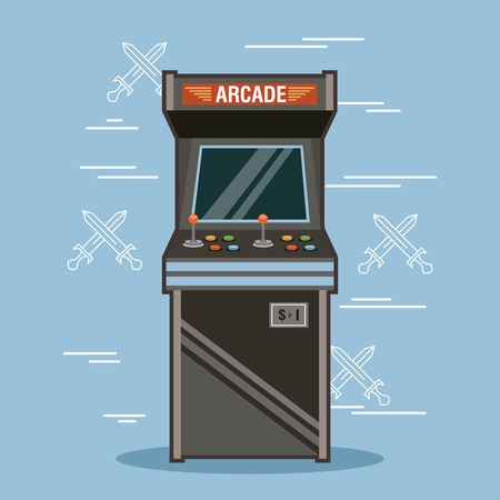 Classic arcade game machine rendering vector illustration Ilustracja