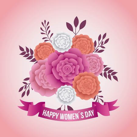 Women's day card with carnation flowers decoration. Vectores