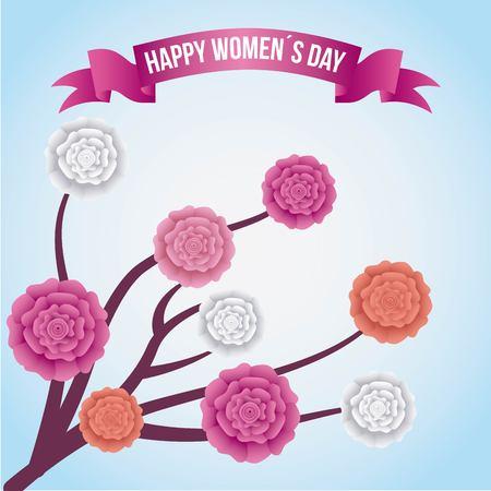 카네이션 꽃 장식 포스터와 함께 Womenà ¢ €⠄¢ s 일 분지 일러스트