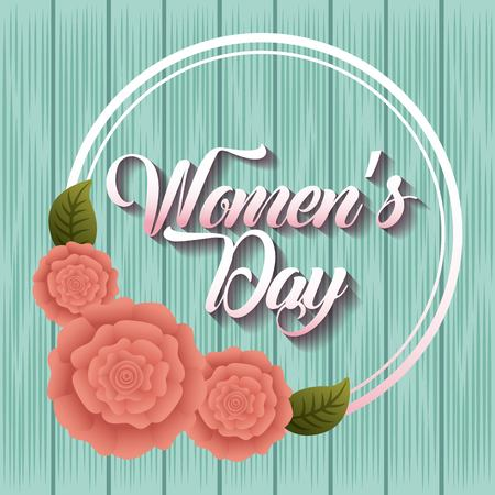 womens day card celebration pink carnation flower badge