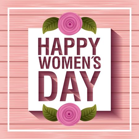 card happy womens day pink flowers and leaves on pink wooden Vectores