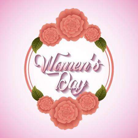 봄 카네이션 꽃과 잎 인사말 카드 여성의 날 프레임