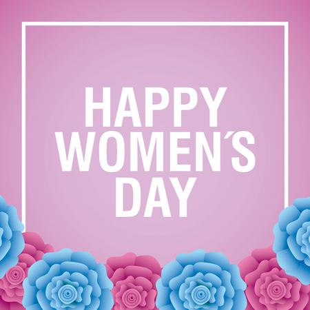 Happy womens day card pink and blue carnation flowers decoration