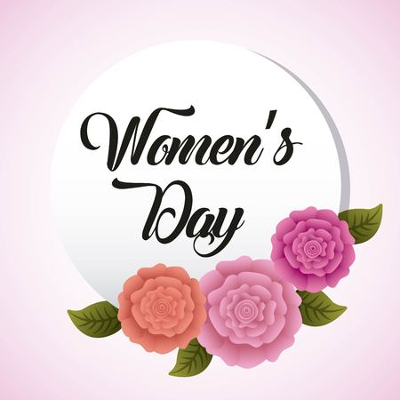 Round invitation womens day with frame leaves and flowers vector illustration