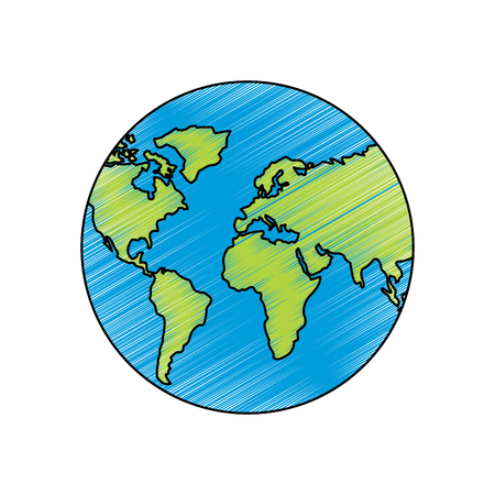 Earth planet world globe map icon vector illustration drawing image Vectores