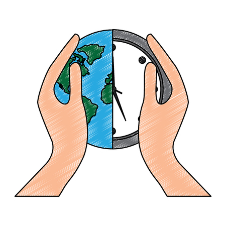 hands holding clock world map protection concept vector illustration drawing image Ilustrace