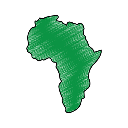 map of africa continent silhouette on a white background vector illustration drawing green image