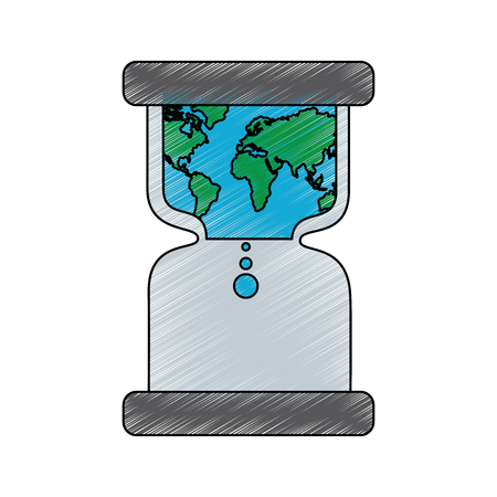 hourglass with earth world time conservation warming vector illustration drawing image