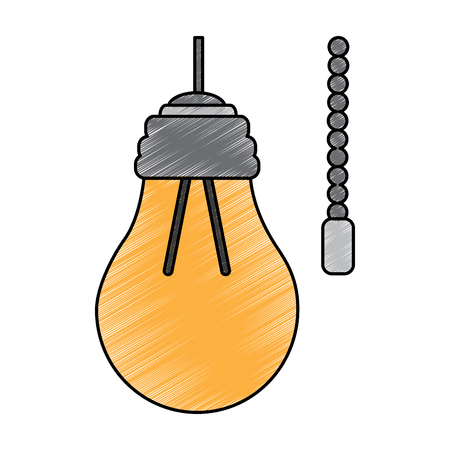 hanging lamp with light bulb with chain electricity vector illustration drawing image Ilustração