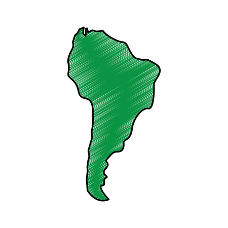 South america map illustration drawing in green color.