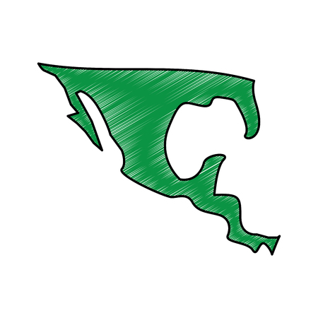 Mexico country map illustration drawing