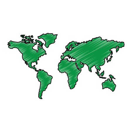 Map of the world with countries continent illustration drawing.