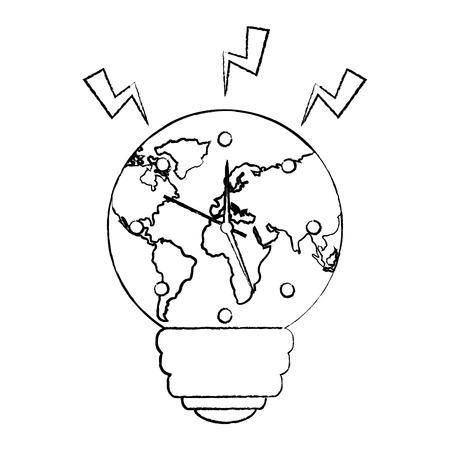 bulb shape earth planet clock time ecology energy vector illustration sketch image
