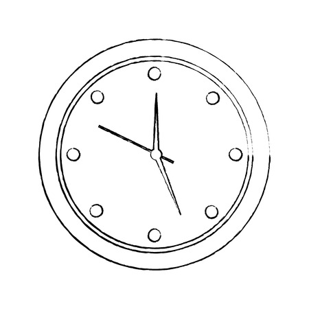 round clock time hour device count icon vector illustration sketch image Illustration