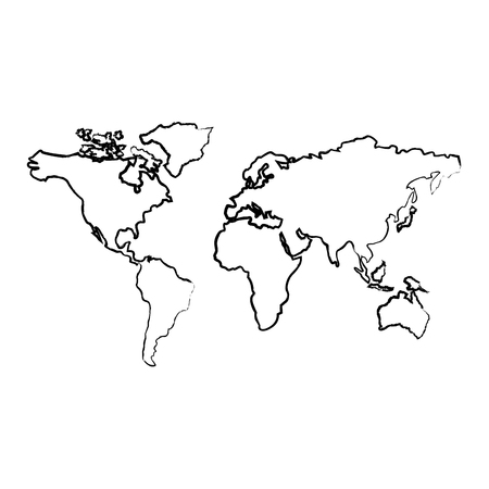 map of the world with countries continent vector illustration  sketch image