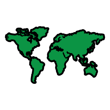 map of the world with countries continent vector illustration  green image