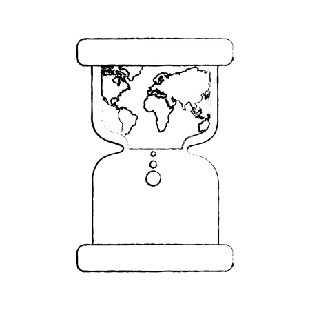 hourglass with earth world time conservation warming vector illustration sketch image