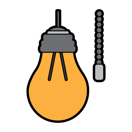 hanging lamp with light bulb with chain electricity vector illustration 版權商用圖片 - 95185557