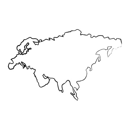 map of asia continent territory silhouette vector illustration  sketch image Illustration