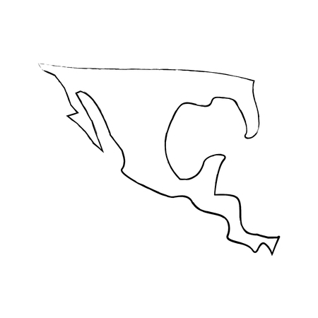 silhouette map of mexico country vector illustration  sketch image