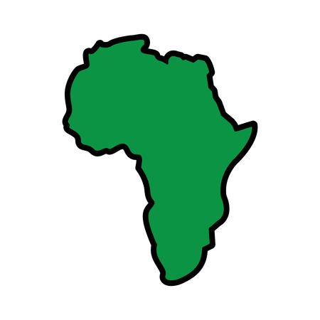 Mapa de África continente silueta sobre un fondo blanco ilustración vectorial imagen verde