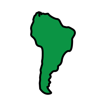 silhouette south america map continent geography vector illustration  green image