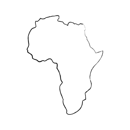 map of africa continent silhouette on a white background vector illustration  sketch image Ilustração