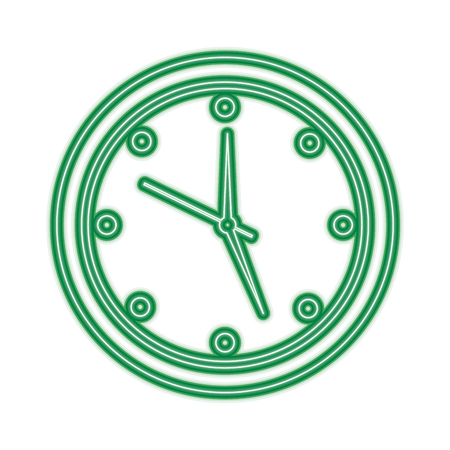 round clock time hour device count icon vector illustration green line design