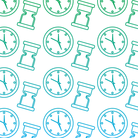 round clock hourglass time symbol background vector illustration