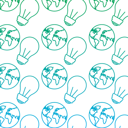 earth planet map and light bulb conservation wallpaper image vector illustration