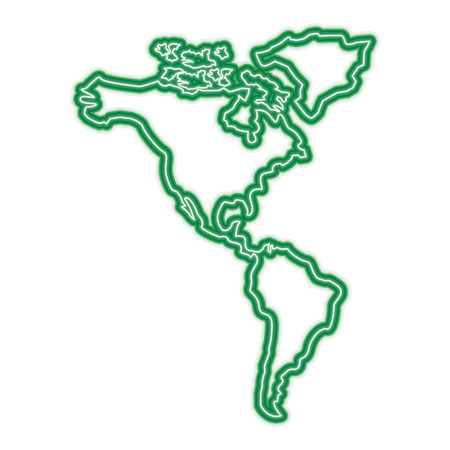 north and south america map continent vector illustration  green line design 向量圖像