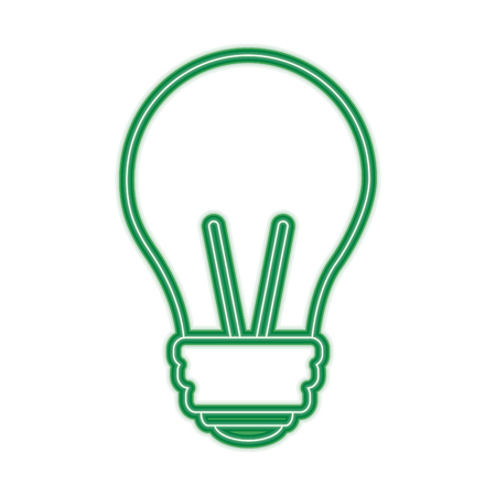 light bulb eletric illumination lamp icon vector illustration green line design Ilustração