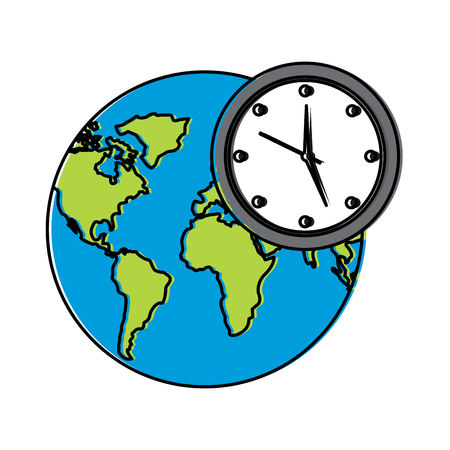 earth world clock time environment symbol vector illustration Vectores