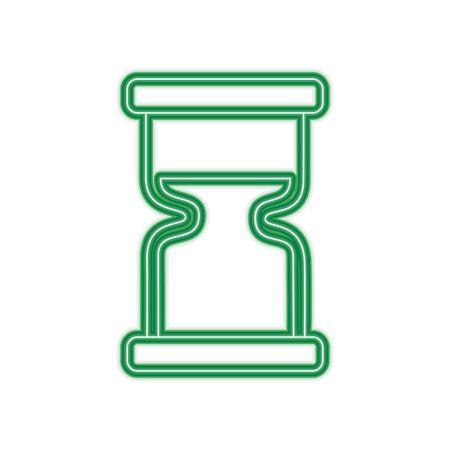 clock hourglass sand time measure device vector illustration green line design