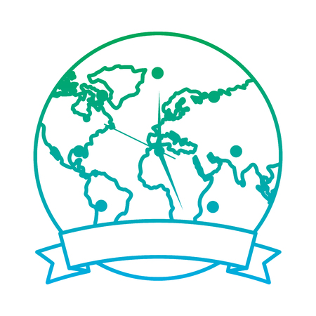 clock with earth planet globe with banner vector illustration blue and green line degrade color Illustration