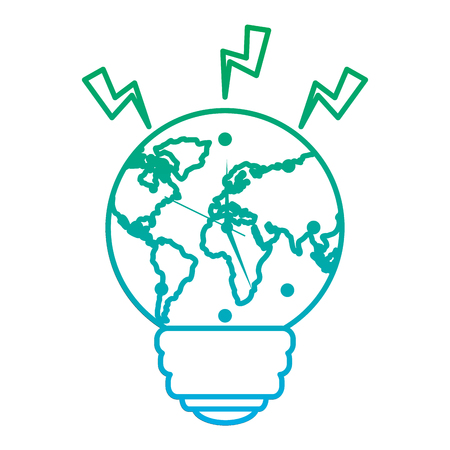 bulb shape earth planet clock time ecology energy vector illustration blue and green line degrade color