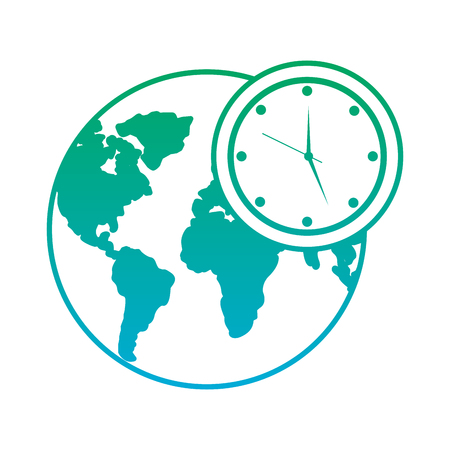 Hands holding clock world map protection concept vector illustration earth world clock time environment symbol vector illustration blue and green line degrade color gumiabroncs Choice Image