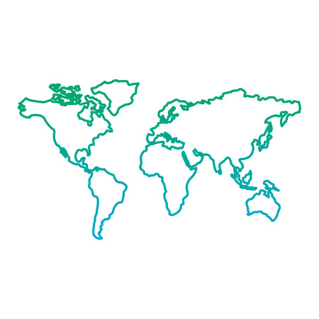 map of the world with countries continent vector illustration  blue and green line degrade color