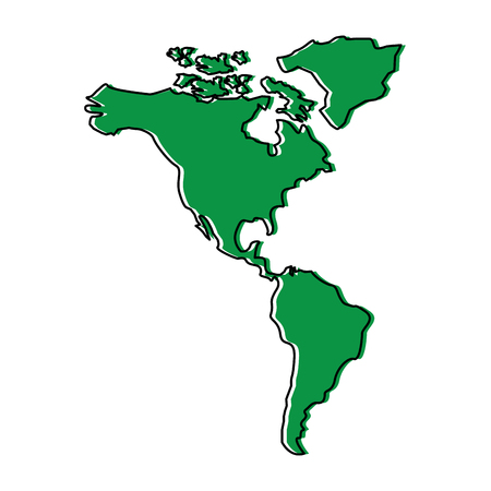 north and south america map continent vector illustration  green design image