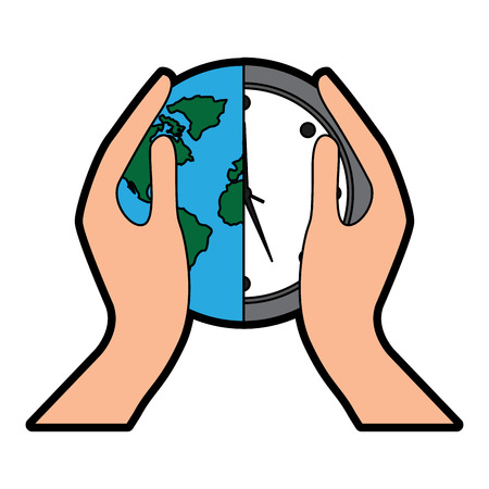hands holding clock world map protection concept vector illustration