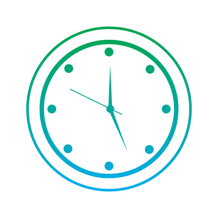 round clock time hour device count icon vector illustration blue and green line degrade color